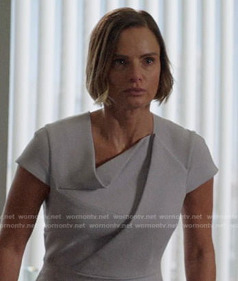 Victoria's grey folded detail dress on Once Upon a Time