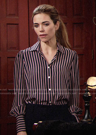 Victoria's navy and red striped blouse on The Young and the Restless