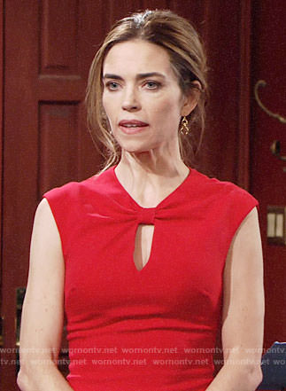 Victoria's red bow neck dress on The Young and the Restless