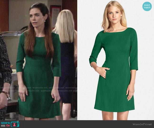 805ce8a58fdb8 Vince Camuto Crepe A-Line Dress worn by Victoria Newman (Amelia Heinle) on