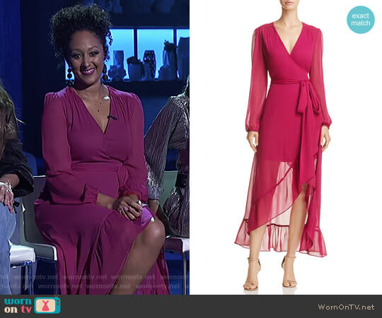 Only You Ruffle Wrap Dress by Wayf worn by Tamera Mowry  on The Real