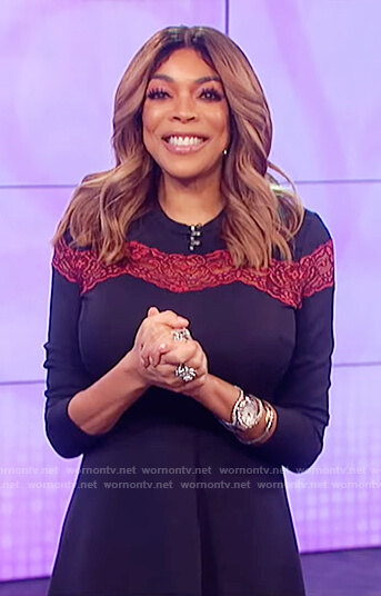 Wendy's blue knit lace insert dress on The Wendy Williams Show