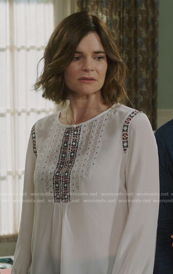 Heather's white embroidered trim top on Life in Pieces