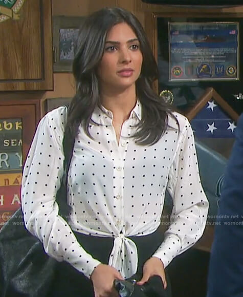Gabi's white polka dot tie waist top on Days of Our Lives