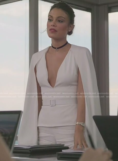 Cristal's white v-neck caped jumpsuit on Dynasty