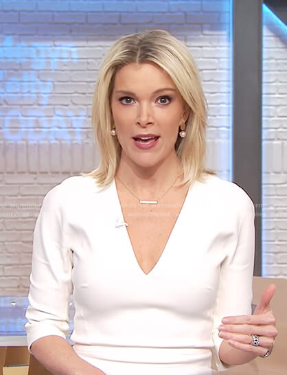 Megyn's white v-neck sheath dress on Megyn Kelly Today