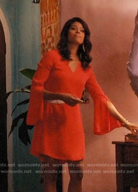 Xiomara's red v-neck bell-sleeve dress on Jane the Virgin