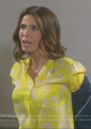Hope's yellow floral print blouse on Days of our Lives