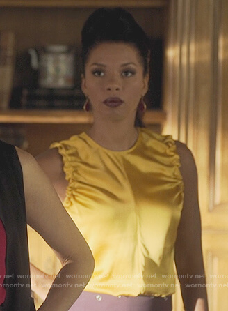 Catherine's yellow sleeveless top on Marvel's Runaways