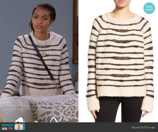 Zadig & Voltaire Kary Open Knit Stripe Sweater worn by Yara Shahidi on Blackish