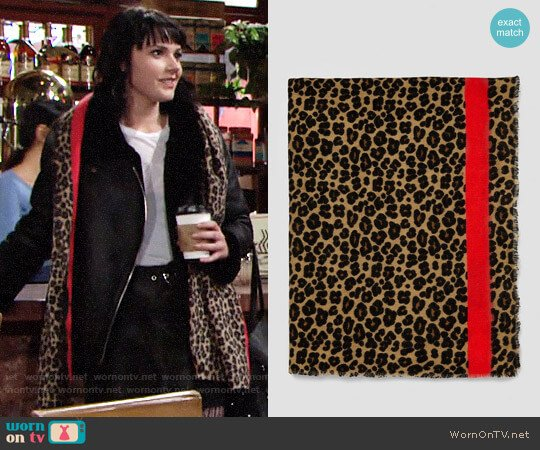 Zara Animal Print Scarf worn by Tessa Porter (Cait Fairbanks) on The Young & the Restless