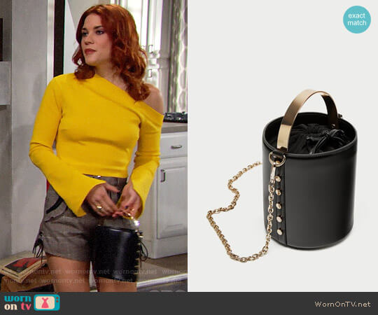Zara Bucket Bag with Metal Handle worn by Sally Spectra (Courtney Hope) on The Bold & the Beautiful
