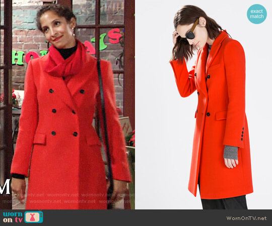 Zara Double Breasted Coat worn by Lily Winters (Christel Khalil) on The Young & the Restless
