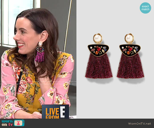 Faux Pearl Earrings with Fringe worn by Melanie Bromley  on E! News
