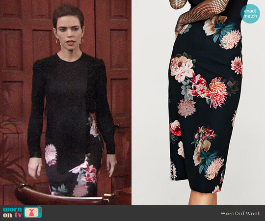 Zara Floral Print Pencil Skirt worn by Amelia Heinle on The Young & the Restless