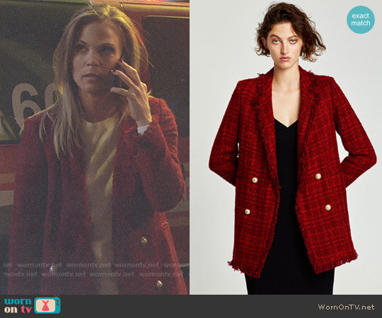 Zara Frayed Jacket with Embellished Buttons worn by Phyllis Newman (Gina Tognoni) on The Young & the Restless