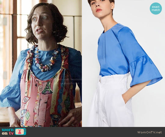 Zara Frilled Sleeve Top worn by Carol Pilbasian (Kristen Schaal) on Last Man On Earth