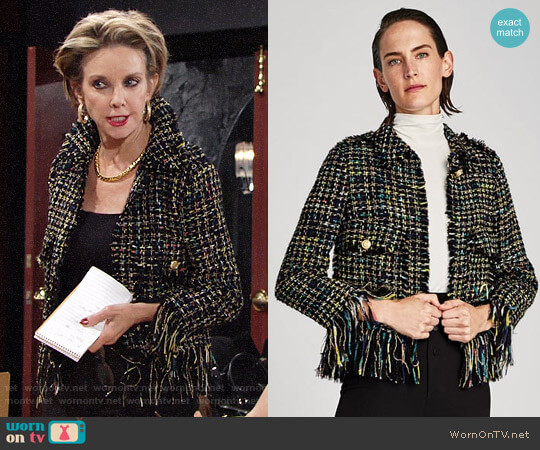 Zara Fringed Jacket worn by Gloria Abbott Bardwell (Judith Chapman) on The Young & the Restless