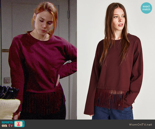 Zara Fringed Sweatshirt worn by Courtney Hope on The Bold & the Beautiful