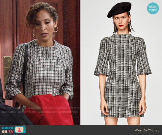Zara Two Tone Tweed Dress worn by Christel Khalil on The Young & the Restless