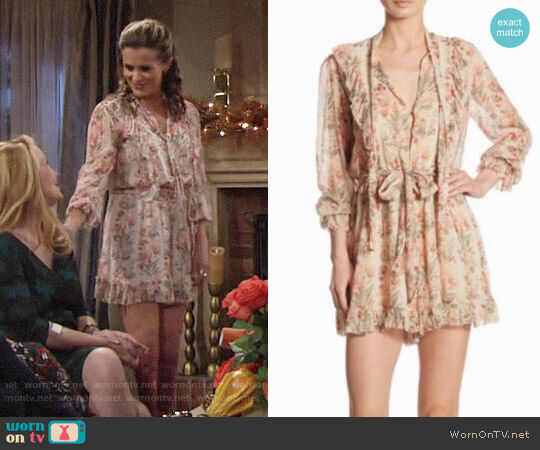 Zimmermann Folly Neck Tie Silk Romper worn by Chelsea Lawson (Melissa Claire Egan) on The Young & the Restless