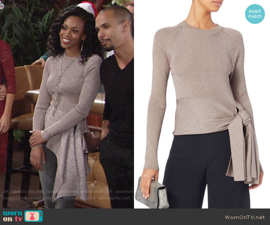 3.1 Phillip Lim Lurex Waist Tie Sweater worn by Hilary Curtis (Mishael Morgan) on The Young & the Restless