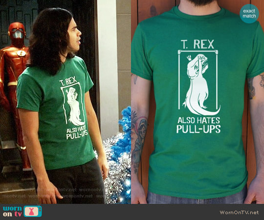 6 Dollar Shirts T. Rex Also Hates Pull Ups worn by Cisco Ramon (Carlos Valdes) on The Flash
