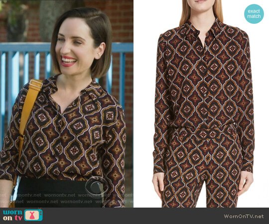 Aubrey Print Silk Top by ALC worn by Zoe Lister-Jones on Life in Pieces