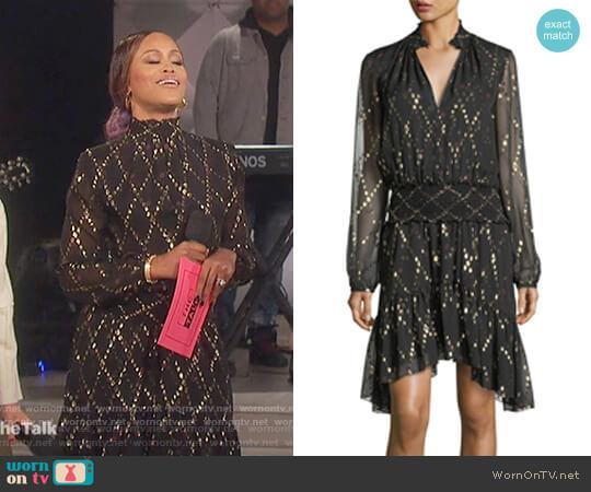 Tula Split-Neck Long-Sleeve Silk Metallic Dress by ALC worn by Eve on The Talk