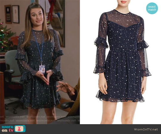 Ruffled Star Print Dress by Aqua worn by Lea Michele on The Mayor