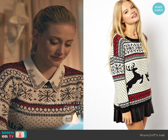 ASOS Christmas Sweater in Reindeer Fairisle worn by Betty Cooper (Lili Reinhart) on Riverdale