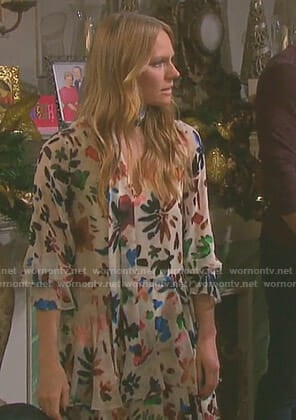 Abigail's white floral tie neck dress on Days of our Lives
