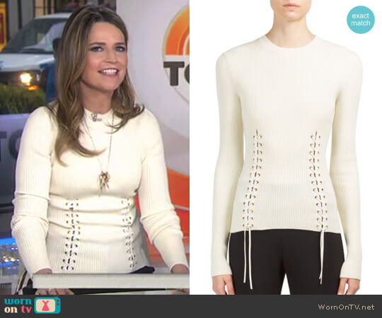 Lace-Up Crewneck Pullover by Alexander McQueen worn by Savannah Guthrie (Savannah Guthrie) on Today