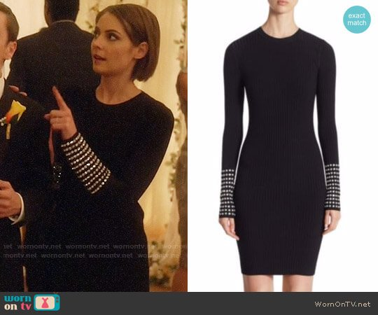 Alexander Wang Crystal-Embellished Ribbed Dress worn by Willa Holland on Arrow