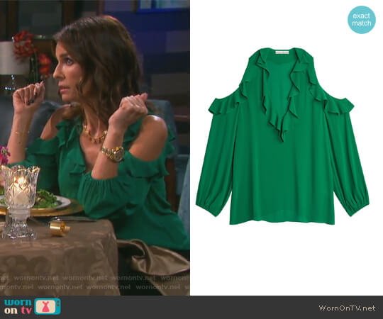Ivy Gia Ruffle Cold Shoulder Blouse by Alice + Olivia worn by Kristian Alfonso on Days of our Lives