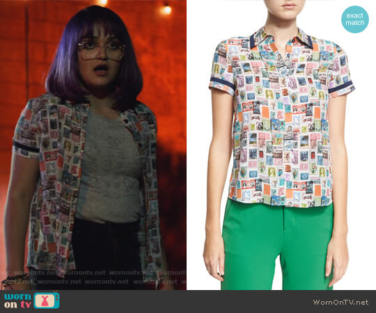 Oswald Short-Sleeve Button-Down Top by Alice + Olivia worn by Gert Yorkes (Ariela Barer) on Marvels Runaways