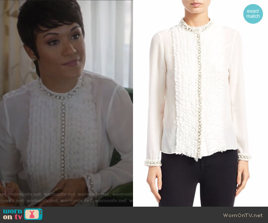 Arminda Ruffled Blouse by Alice + Olivia worn by Anika Calhoun (Grace Gealey) on Empire