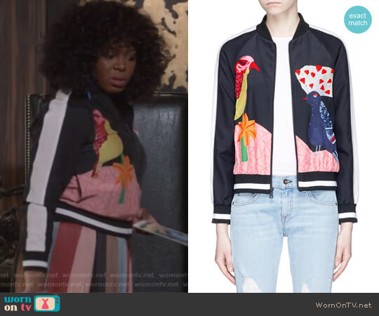 Felisa Bird and Plant Print Silk Bomber Jacket by Alice + Olivia worn by Porsha Taylor (Ta'Rhonda Jones) on Empire