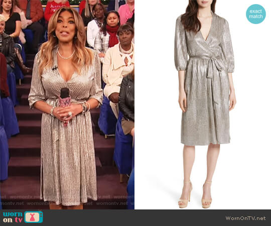 Katina Metallic Wrap Dress by Alice + Olivia worn by Wendy Williams  on The Wendy Williams Show