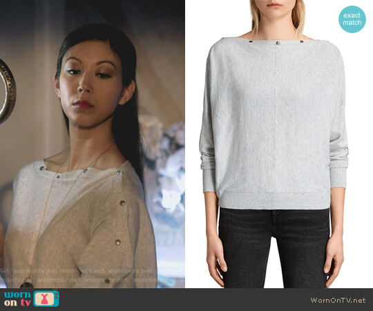 Elle Snap-Detail Sweater by All Saints worn by Tina Minoru (Brittany Ishibashi) on Marvels Runaways