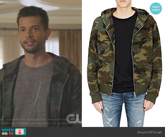 Camouflage Cotton Shotgun Hoodie by Amiri worn by Sam Flores (Rafael de la Fuente) on Dynasty