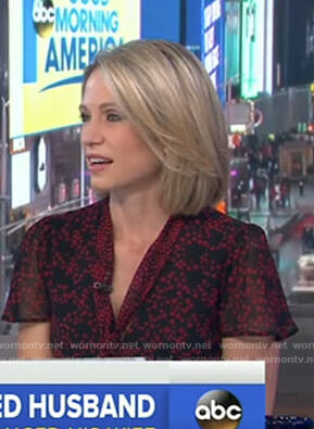 Amy's red and black star print tie neck dress on Good Morning America