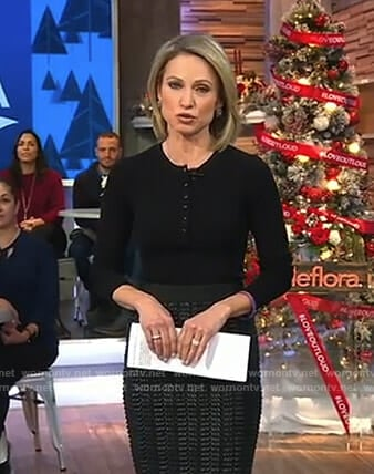 Amy's black snap button top on Good Morning America