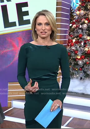 Amy's green velvet insert sheath dress on Good Morning America