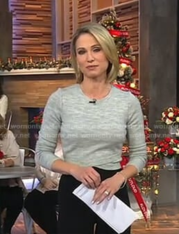 Amy's grey crisscross front sweater on Good Morning America