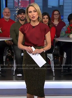 Amy's red satin top and metallic striped skirt on Good Morning America