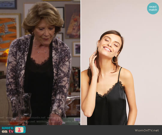 Laced V-Neck Cami by Floreat at Anthropologie worn by Linda Lavin on 9JKL