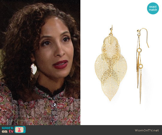 Aqua Calliope Leaf Drop Earrings worn by Christel Khalil on The Young & the Restless
