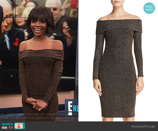 Metallic Off-the-Shoulder Dress by Aqua worn by Zuri Hall on E! News