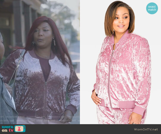 Crushed Velvet Bomber Jacket by Ashley Stewart worn by Carlotta Brown (Queen Latifah) on Star